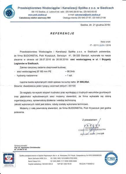 Budoinstal referencje od Przedsiębiorstwa Wodociągów i Kanalizacji 3