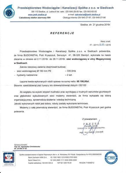 Referencje od Przedsiębiorstwa Wodociągów i Kanalizacji
