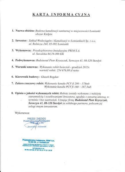 karta informacyjna referencje budoinstal Łomianki
