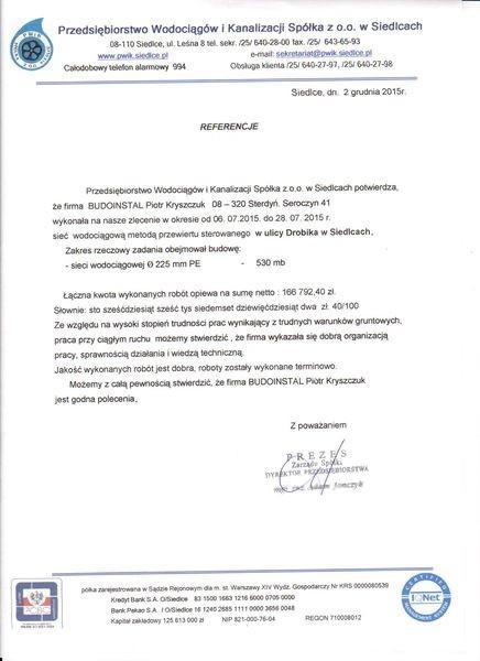 referencje Budoinstal od Przedsiębiorstwo Wodociągów i Kanalizacji Spółka w Siedlacach