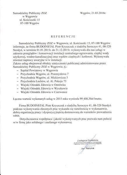 Referencje od Samodzielny Publiczny ZOZ w Węgrowie dla Budoinstal
