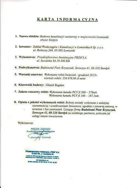 Karta informacyjna referencje Budoinstal