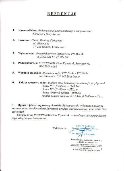 Referencje od Samodzielny Publiczny ZOZ w Węgrowie dla Budoinstal 2