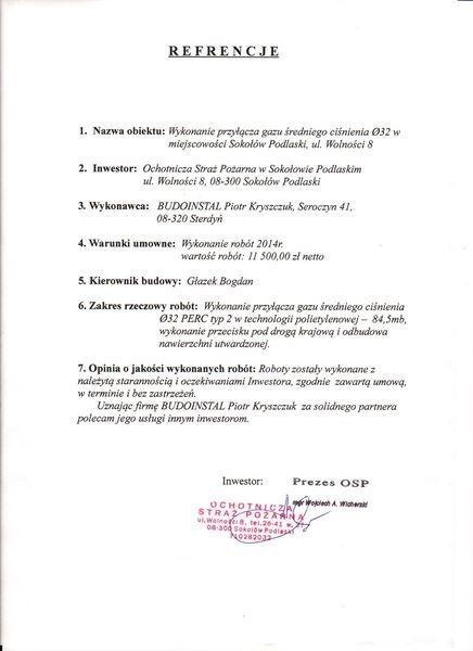 Referencje gmina Łochów Budoinstal