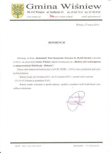 Gmina Wiśniew referencje